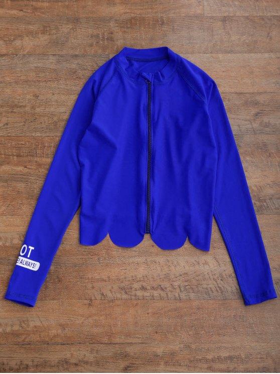Graphic Zip Up 4PCS Wetsuit - BLUE M Mobile