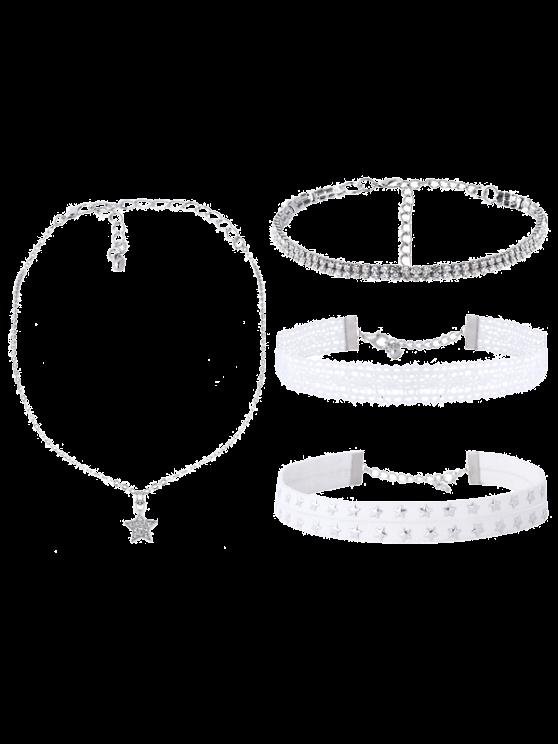 hot Rhinestone Lace Star Choker Necklace Set - WHITE