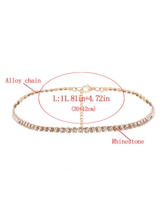Rhinestone Chain Necklace - GOLDEN  Mobile