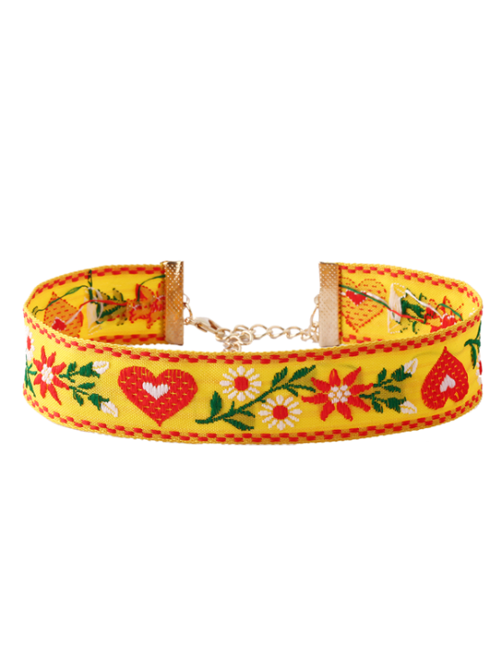 affordable Heart Flower Embroidered Choker Necklace - YELLOW
