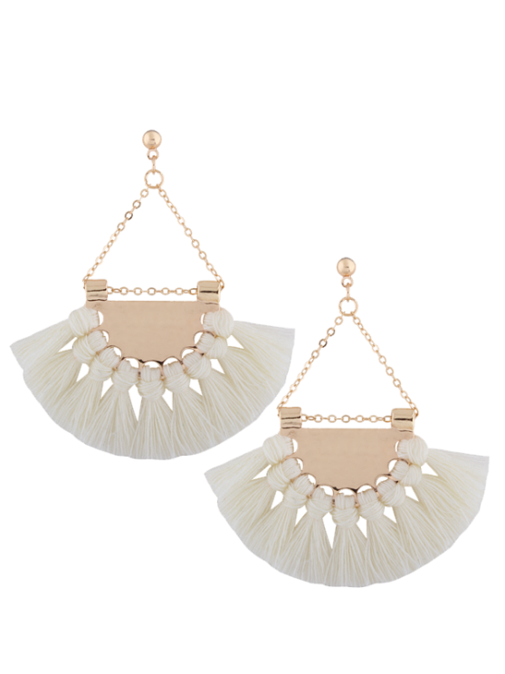 women's Alloy Triangle Tassel Drop Earrings - WHITE