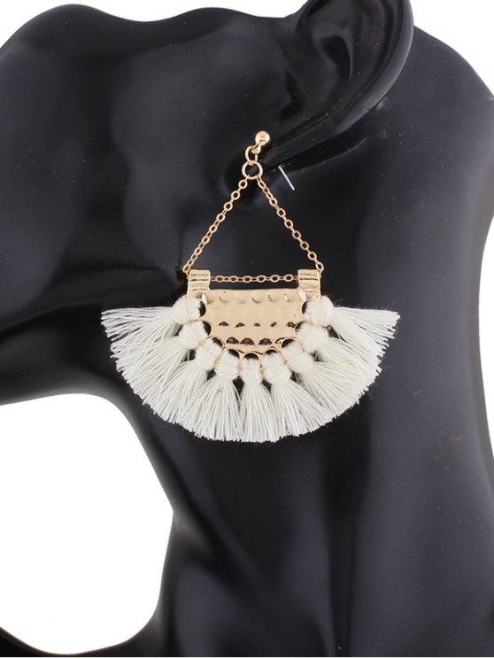 Alloy Triangle Tassel Drop Earrings - WHITE  Mobile