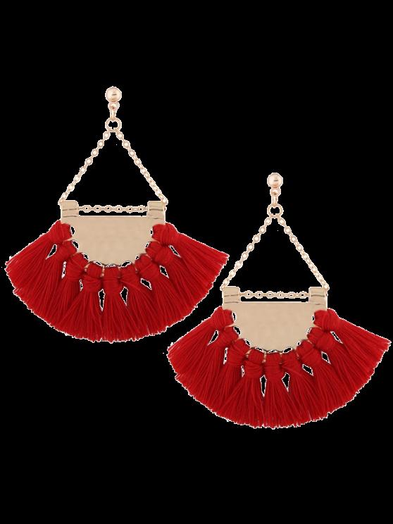 buy Alloy Triangle Tassel Drop Earrings - RED