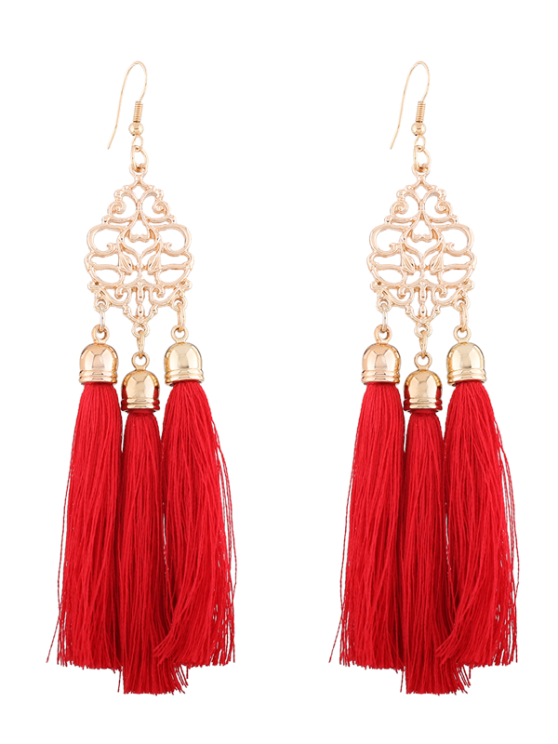 lady Alloy Engraved Tassel Drop Earrings - RED