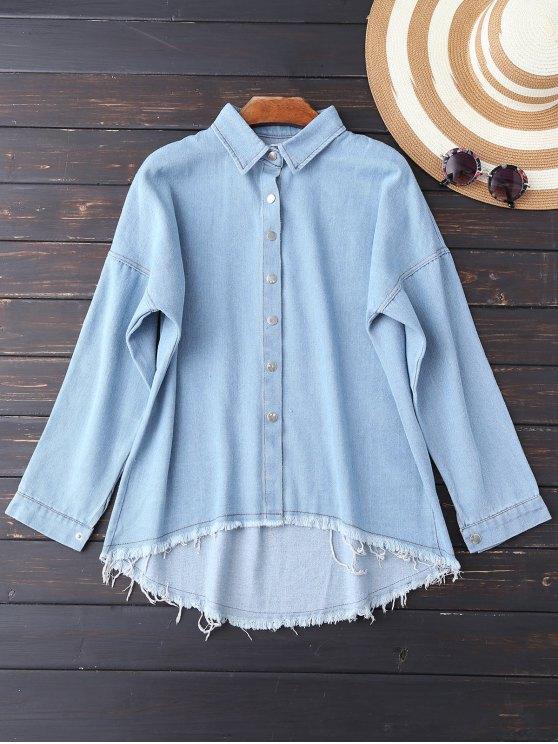 Camisa de los puntos de corte de mayor a menor Denim - Azul Claro XL