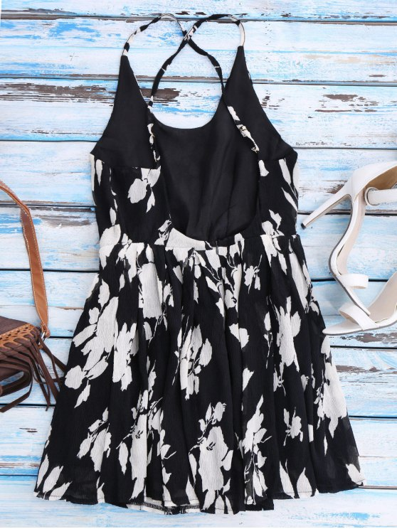 Floral Cross Back Beach Cami Dress - BLACK M Mobile