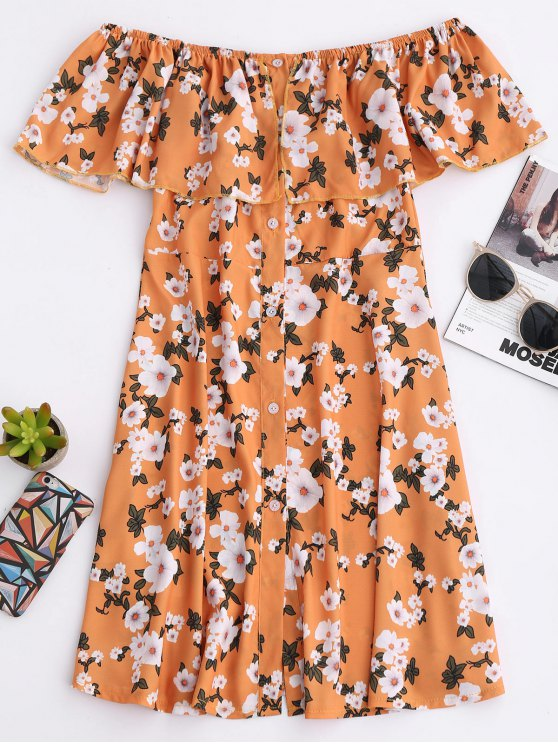 Floral Off The Shoulder A-Line Dress - EARTHY XL Mobile