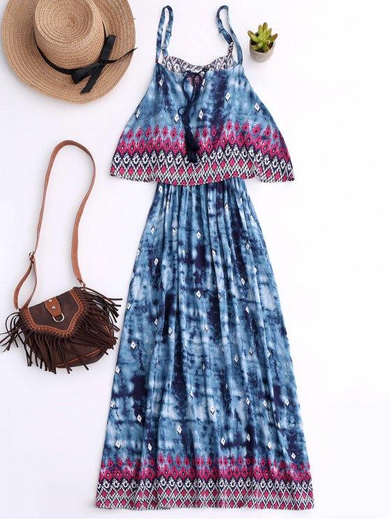 Imprimió el vestido de Boho acodado - Azul M