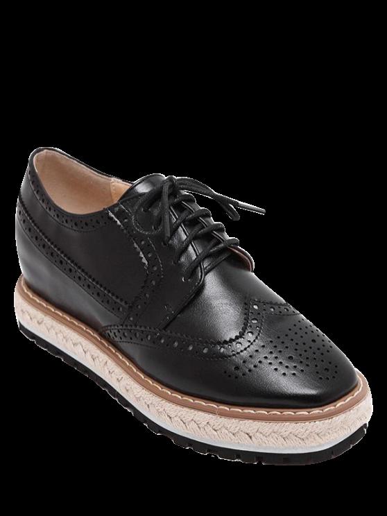 sale Wingtip Espadrilles Square Toe Platform Shoes - BLACK 37