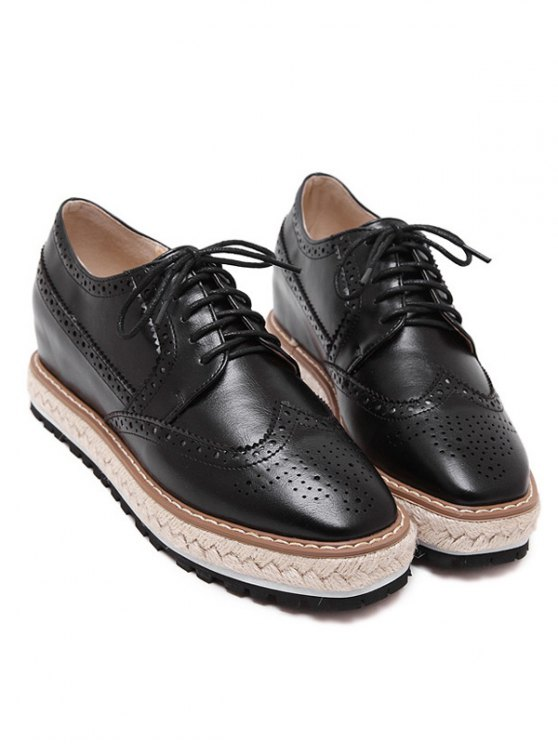 Wingtip Espadrilles Square Toe Platform Shoes - BLACK 37 Mobile
