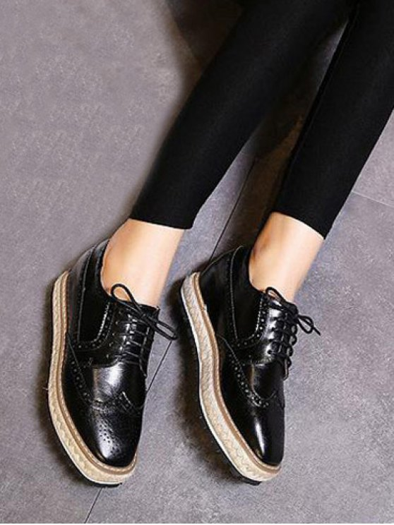 Wingtip Espadrilles Square Toe Platform Shoes - BLACK 38 Mobile