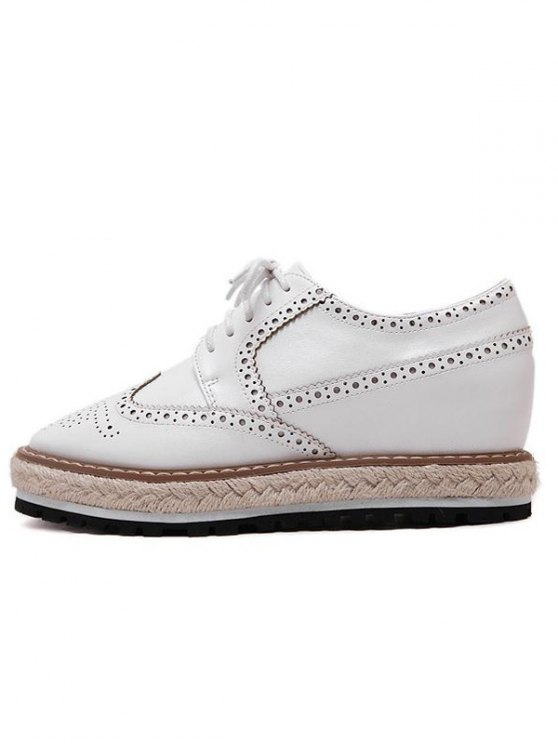 Wingtip Espadrilles Square Toe Platform Shoes - WHITE 37 Mobile
