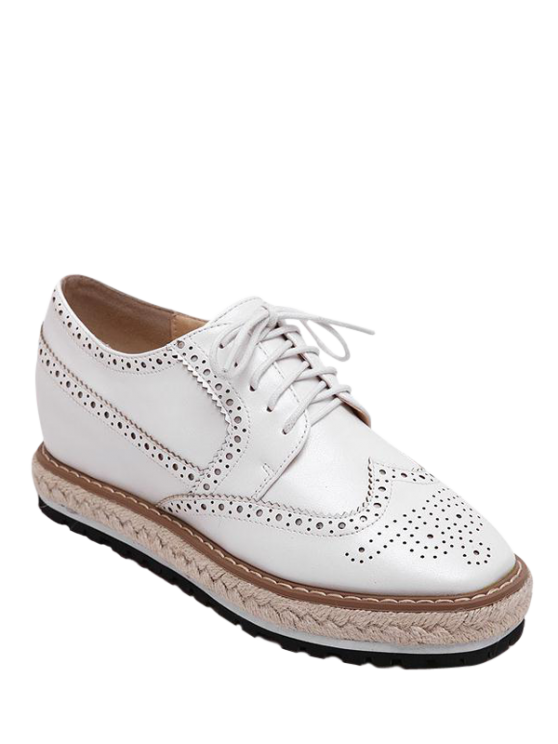 women's Wingtip Espadrilles Square Toe Platform Shoes - WHITE 38