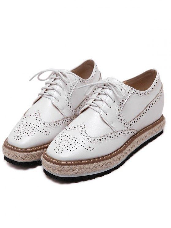 Wingtip Espadrilles Square Toe Platform Shoes - WHITE 38 Mobile