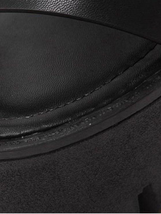 Zipper Double Belt Buckle Cross Strap Sandals - BLACK 37 Mobile