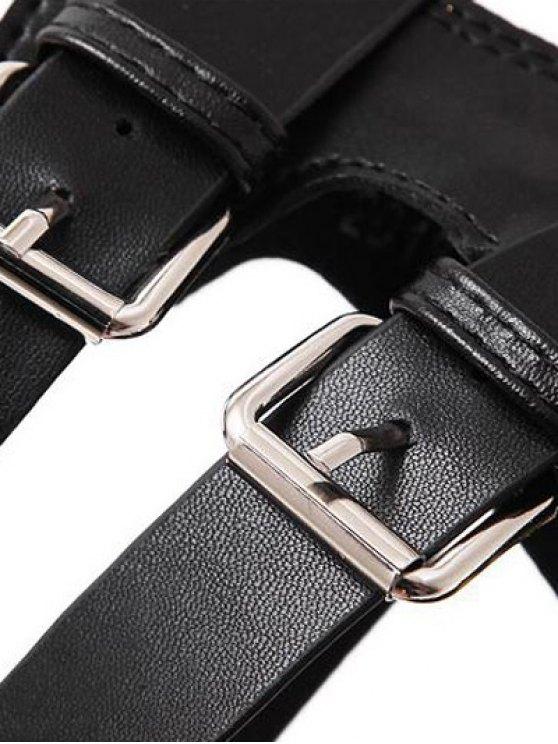 Zipper Double Belt Buckle Cross Strap Sandals - BLACK 39 Mobile