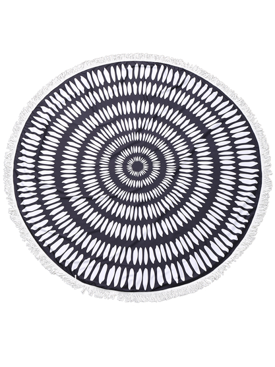 Printed Round Fringed Beach Throw - BLACK ONE SIZE Mobile