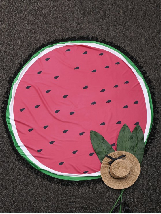 Round Color Block Fringed Beach Throw - WATERMELON RED ONE SIZE Mobile