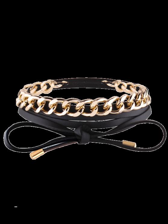 women's Faux Leather Chain Wrap Necklace - BLACK