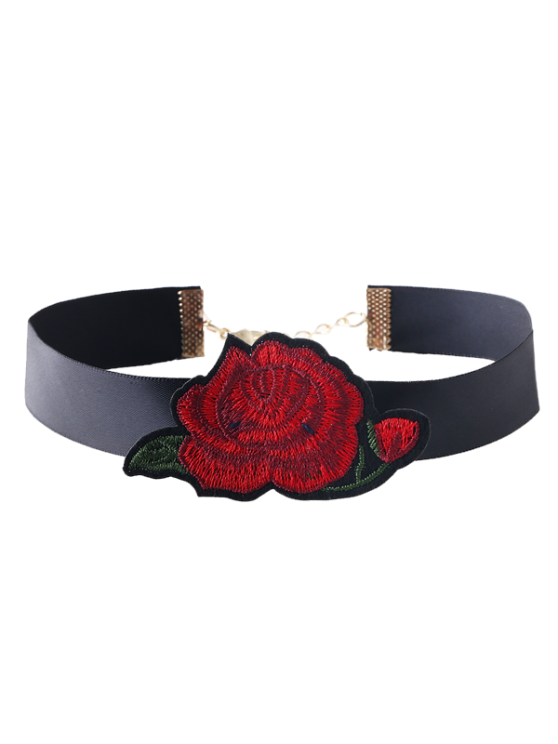 online Floral Embroidered Choker Necklace - RED