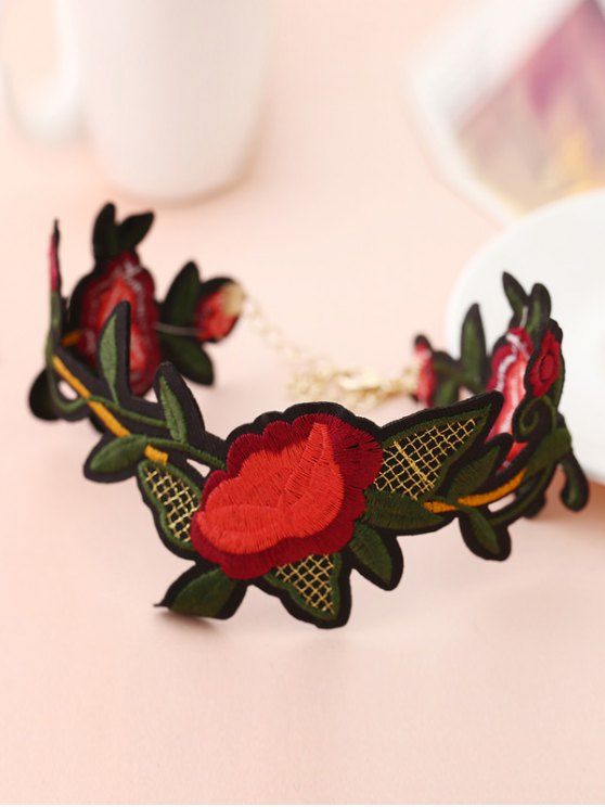 Leaf Flower Embroidered Choker Necklace - RED  Mobile