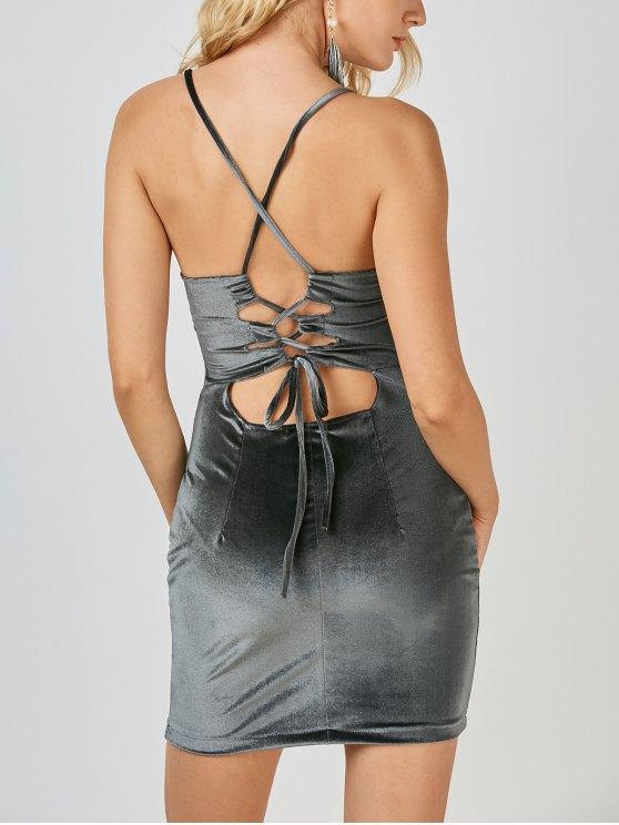 Robe mini fourreau en velours avec dos croisé - Gris M