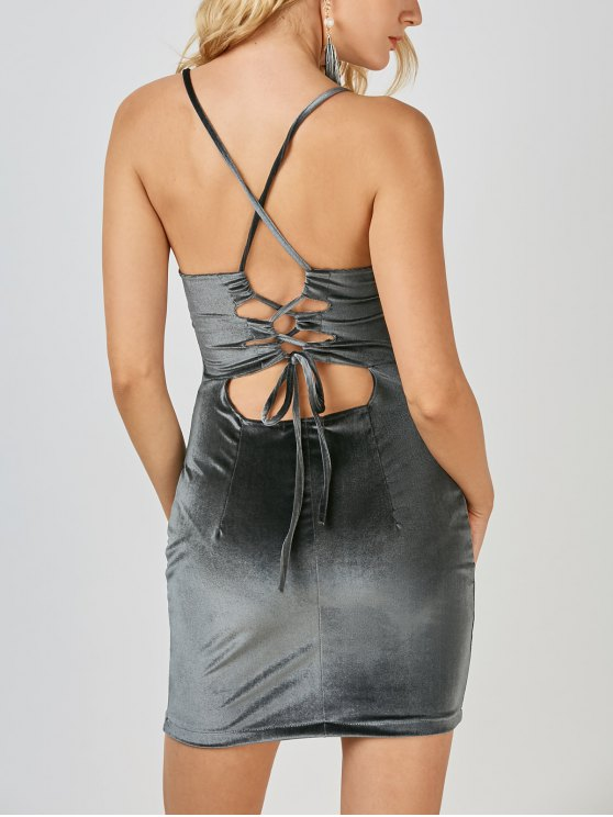 Terciopelo espalda cruzada de Bodycon del mini vestido - Gris S