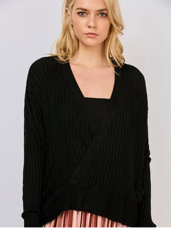 Oversized V Neck Ribbed Sweater - BLACK XL Mobile