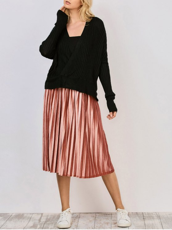 De gran tamaño cuello en V suéter acanalado - Negro S
