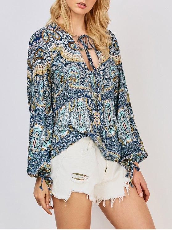 fancy Printed Bohemian Blouse - BLUE 2XL