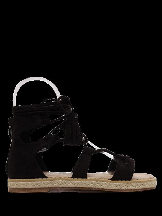 Tassels Lace Up Espadrilles Sandals - BLACK 37 Mobile