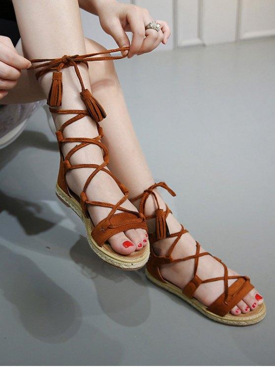 Tassels Lace Up Espadrilles Sandals - BROWN 39 Mobile