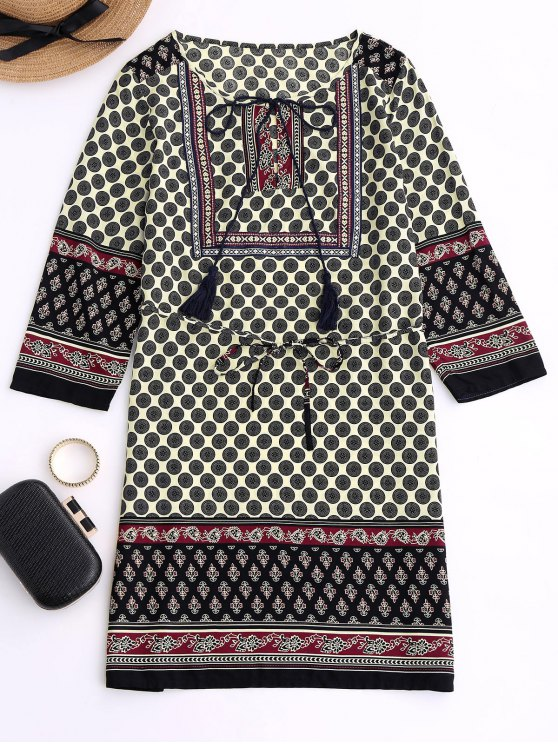 affordable Belted Printed Boho Dress - BLACK M