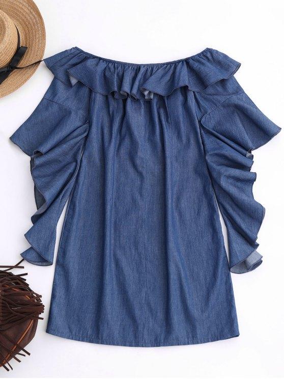 Off The Shoulder Ruffles Mini Dress - DENIM BLUE XL Mobile