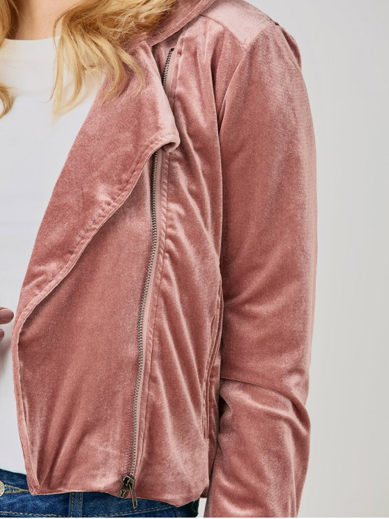 Velvet Biker Jacket - DEEP PINK 2XL Mobile