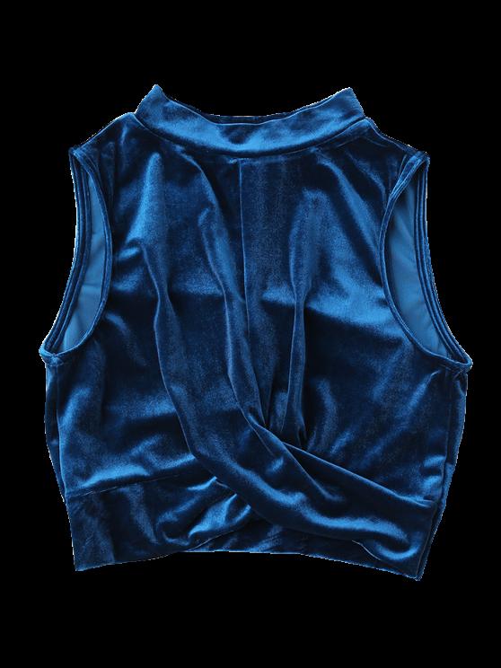 Velvet Crossed Crop Top - Blue