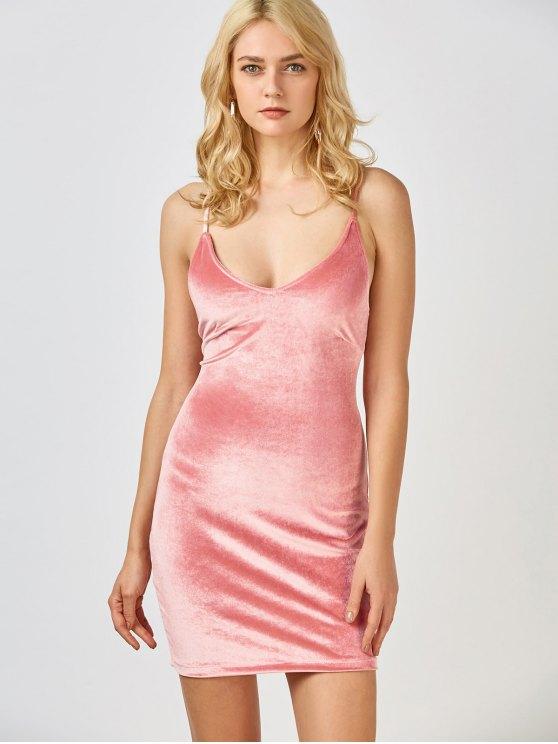 Velvet Cross Back Bodycon Mini Dress - PINK L Mobile