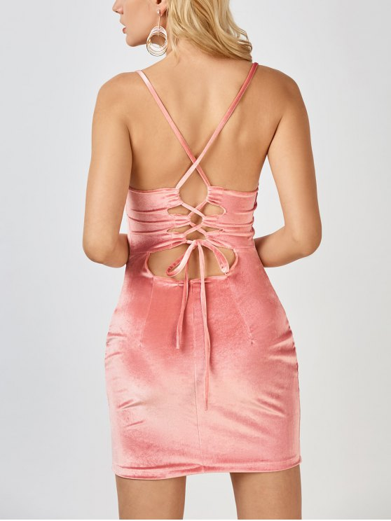 trendy Velvet Cross Back Bodycon Mini Dress - PINK S