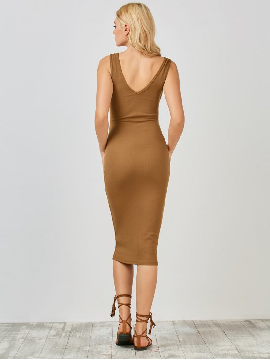 Knitting Button Up Bodycon Dress - CAMEL M Mobile