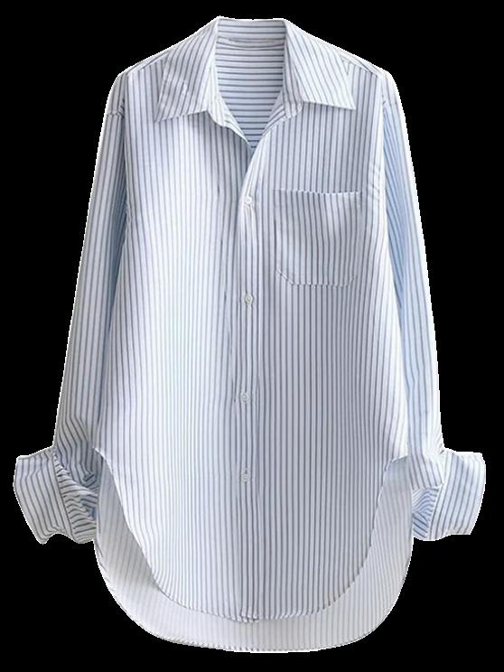 hot Striped Arc Hem Longline Boyfriend Shirt - STRIPE S