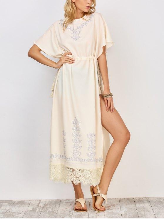 fashion Drawstring High Slit Maxi Dress - WHITE M