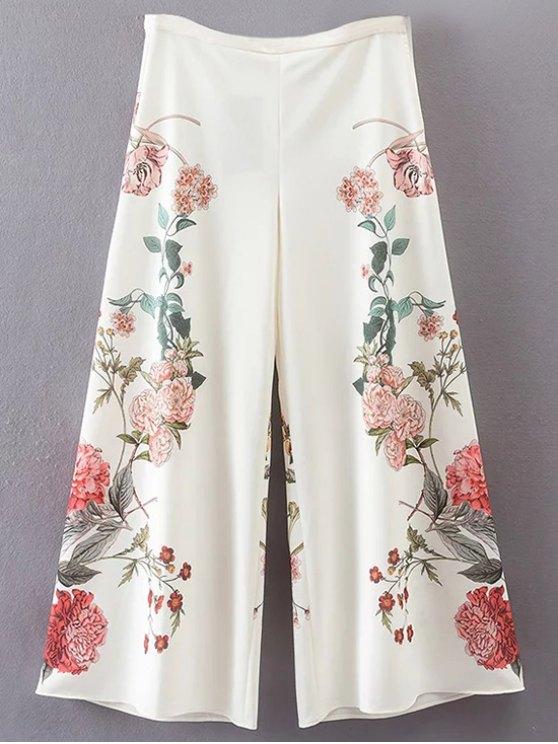 chic Floral Culotte Pants - WHITE L