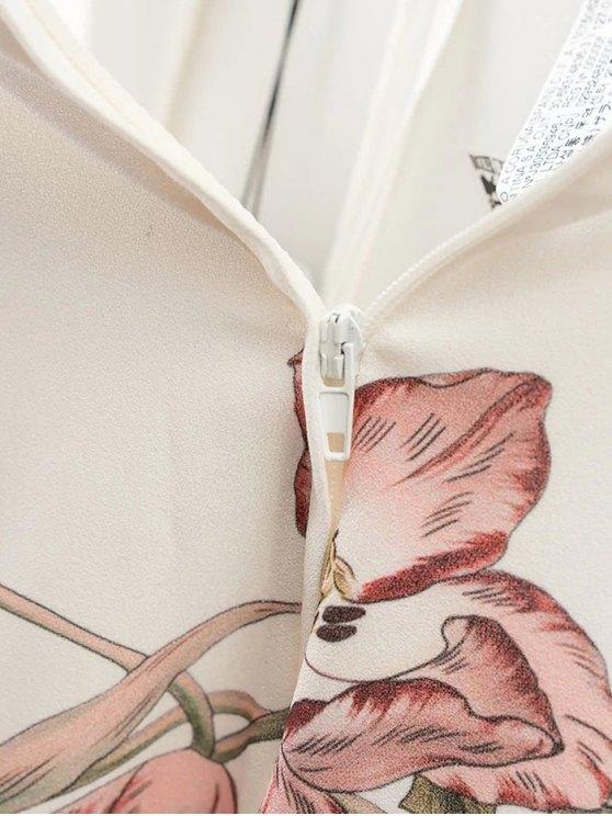 Floral Culotte Pants - WHITE M Mobile