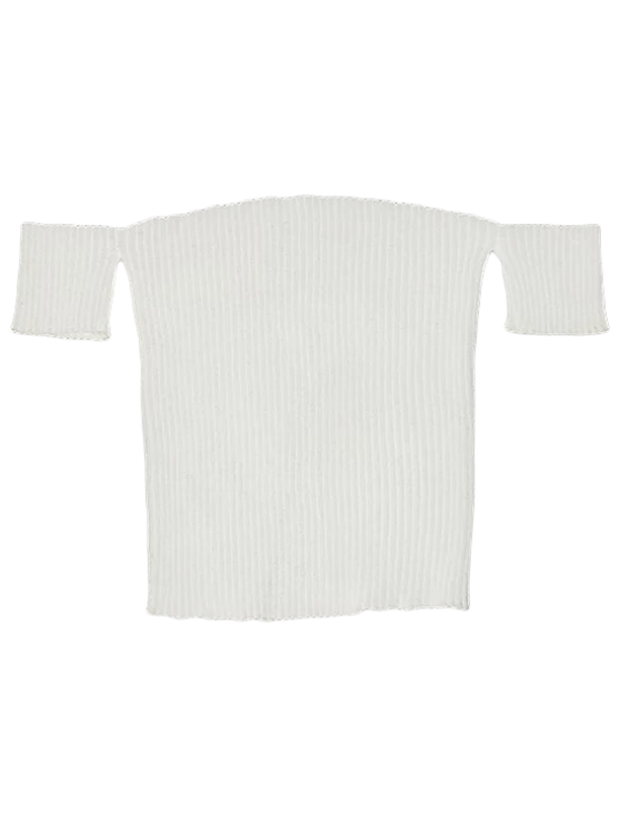 affordable Fitted Off Shoulder Ribbed Knitwear - WHITE S