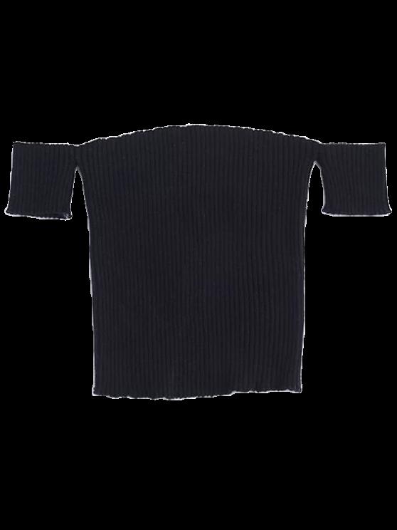 buy Fitted Off Shoulder Ribbed Knitwear - BLACK M