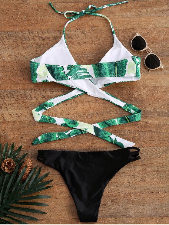 Palm Tree Print Strappy Halter Bikini - COLORMIX M Mobile