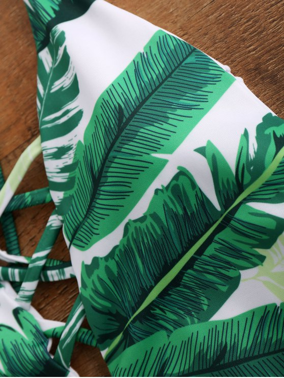 Palm Print Backless Plunge One Piece Swimwear - GREEN M Mobile