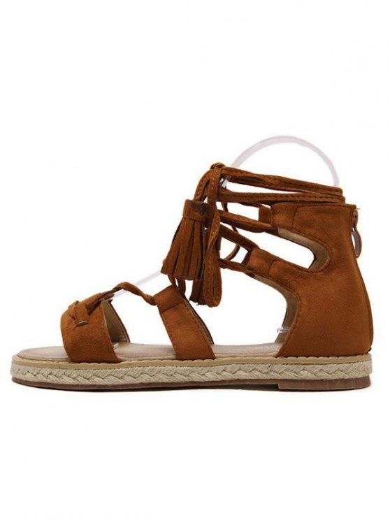 Tassels Lace Up Espadrilles Sandals - BROWN 37 Mobile