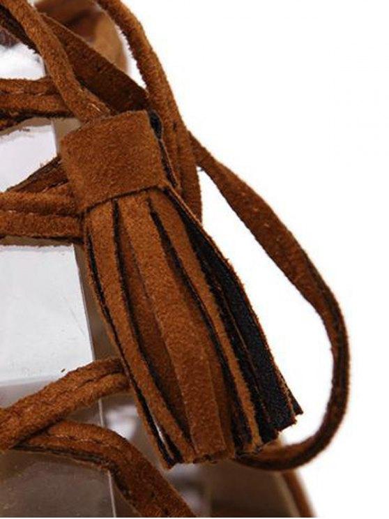 Tassels Lace Up Espadrilles Sandals - BROWN 38 Mobile