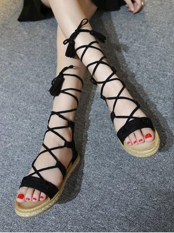 Tassels Lace Up Espadrilles Sandals - Black 39